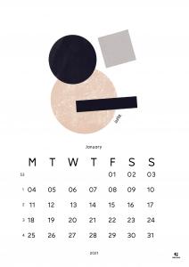 Month calendar January 2021